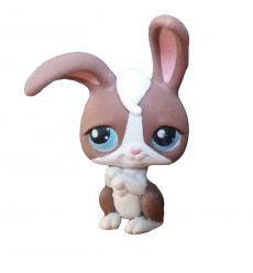 HASBRO - Littlest Pet Shop Brown and White Rabbit Blue Eyes #121
