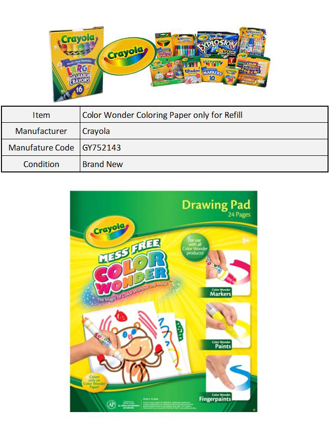 Crayola color wonder coloring paper only for refill for Crayola color wonder 30 page refill paper