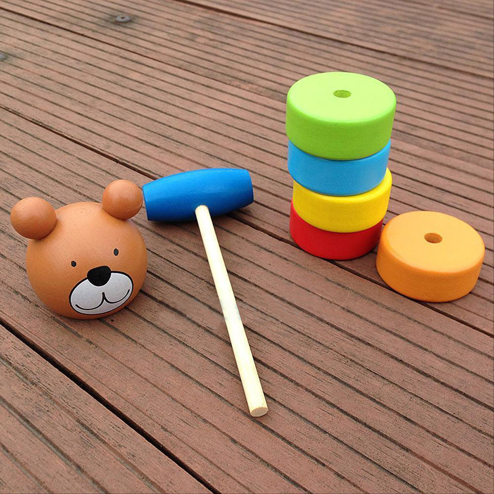 Kids Stacking Toys : Utoys baby wooden bear rainbow stacking block toy